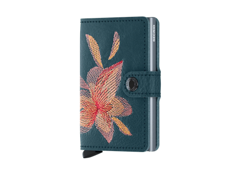 Secrid Miniwallet RFID/NFC Protected Leather Wallet - Stitch Magnolio Petrolio