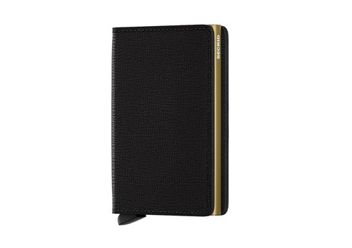 Secrid Slimwallet RFID/NFC Protected Leather Wallet - Crisple Black-Gold