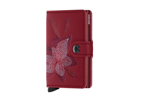 Secrid Miniwallet RFID/NFC Protected Leather Wallet - Stitch Magnolio Rosso