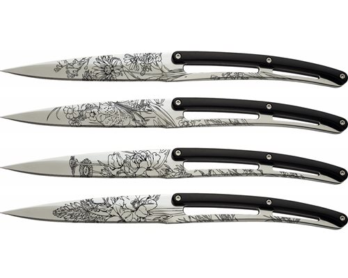 Deejo Set of 4 Table Steak Knives, Mirror, Bistro, Blossom 4AP010