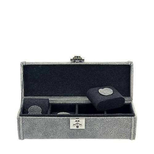 Friedrich Lederwaren 27021-8 Cubano 4 Watch Case, Grey
