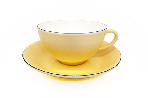 Gustavsberg Natur Tea Cup With Saucer Yellow Plum 1208